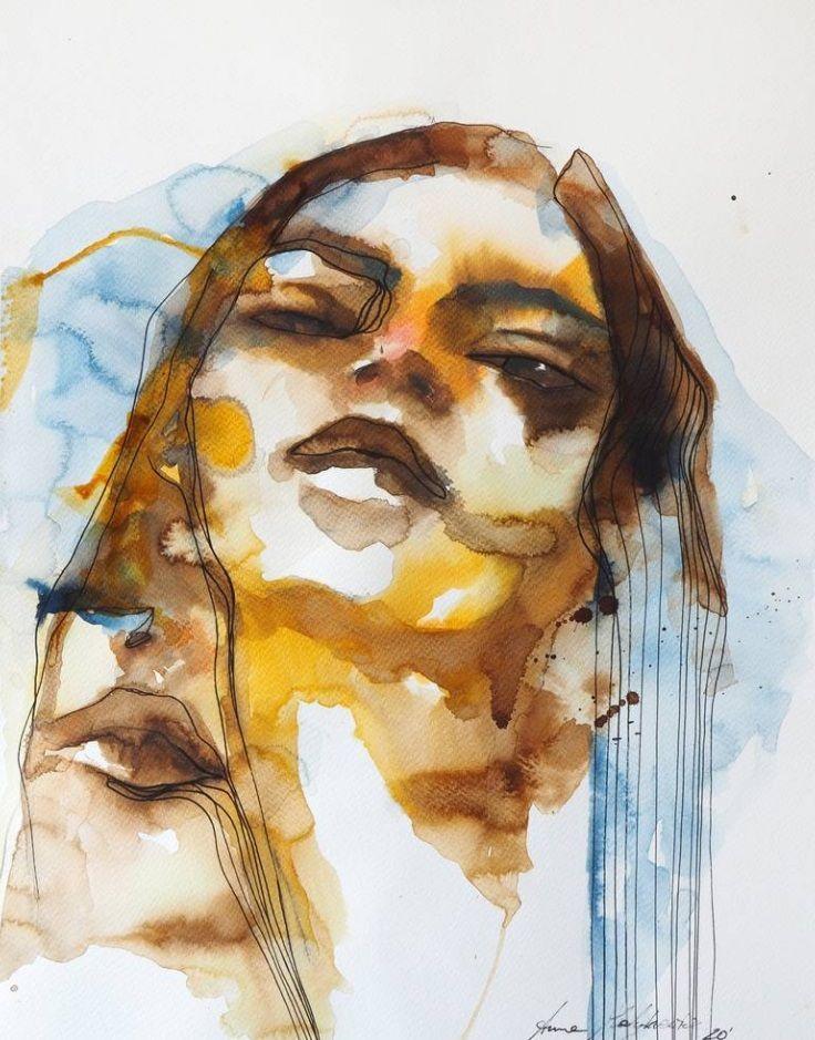 Portrait painting water color under 500 eur